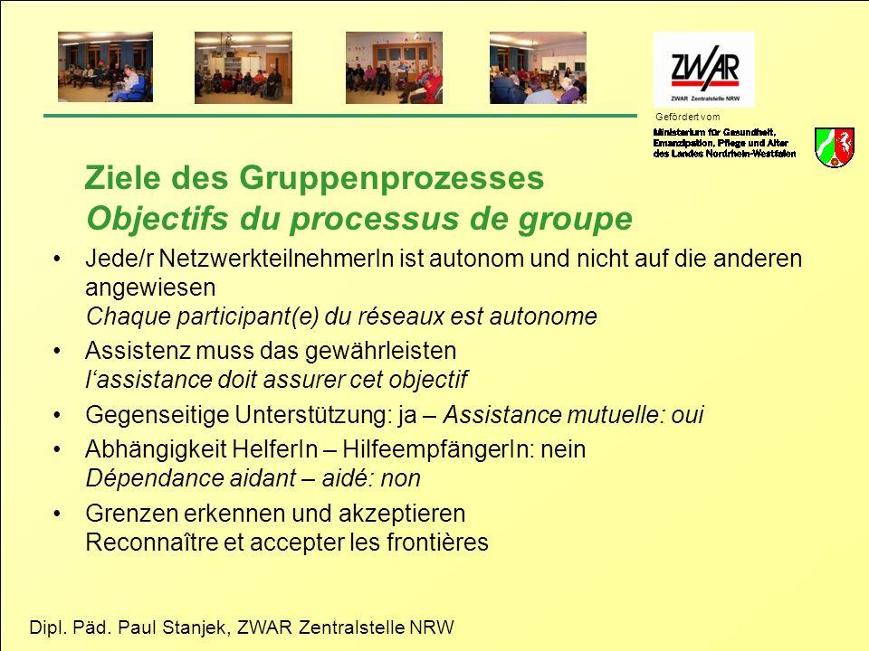 Dipl. Päd. Paul Stanjek, ZWAR Zentralstelle NRW Gefördert vom Ziele des Gruppenprozesses Objectifs du processus de groupe Jede/r NetzwerkteilnehmerIn