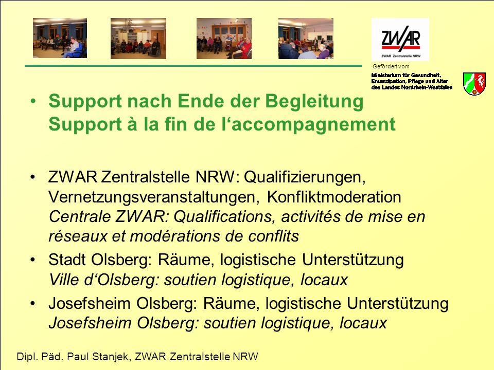 Dipl. Päd. Paul Stanjek, ZWAR Zentralstelle NRW Gefördert vom Support nach Ende der Begleitung Support à la fin de laccompagnement ZWAR Zentralstelle