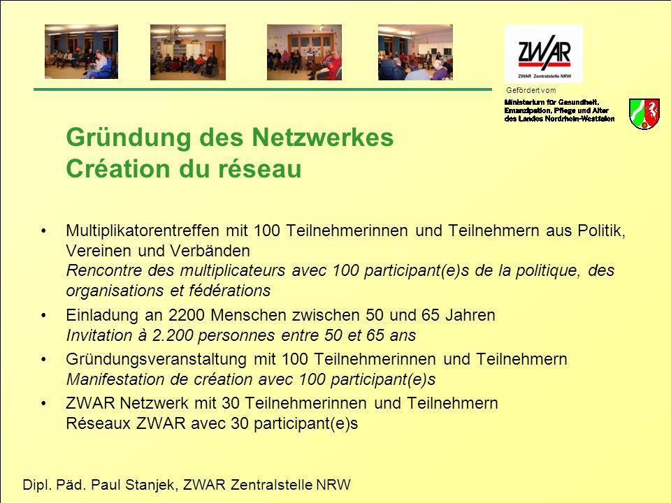 Dipl. Päd. Paul Stanjek, ZWAR Zentralstelle NRW Gefördert vom Gründung des Netzwerkes Création du réseau Multiplikatorentreffen mit 100 Teilnehmerinne