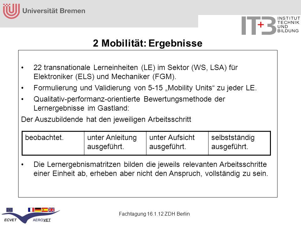 Fachtagung 16.1.12 ZDH Berlin 2 Mobilität: Ergebnisse 22 transnationale Lerneinheiten (LE) im Sektor (WS, LSA) für Elektroniker (ELS) und Mechaniker (