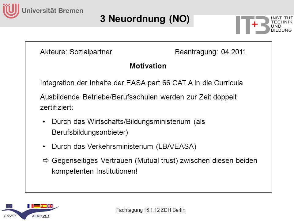 Fachtagung 16.1.12 ZDH Berlin 3 Neuordnung (NO) Akteure: Sozialpartner Beantragung: 04.2011 Motivation Integration der Inhalte der EASA part 66 CAT A