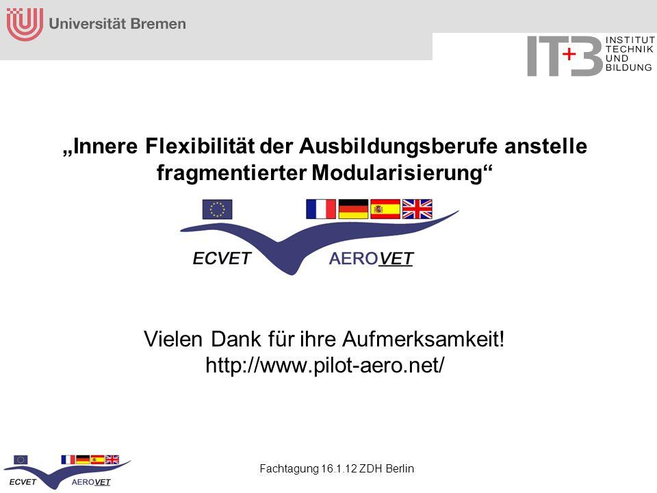 Fachtagung 16.1.12 ZDH Berlin Innere Flexibilität der Ausbildungsberufe anstelle fragmentierter Modularisierung Vielen Dank für ihre Aufmerksamkeit! h