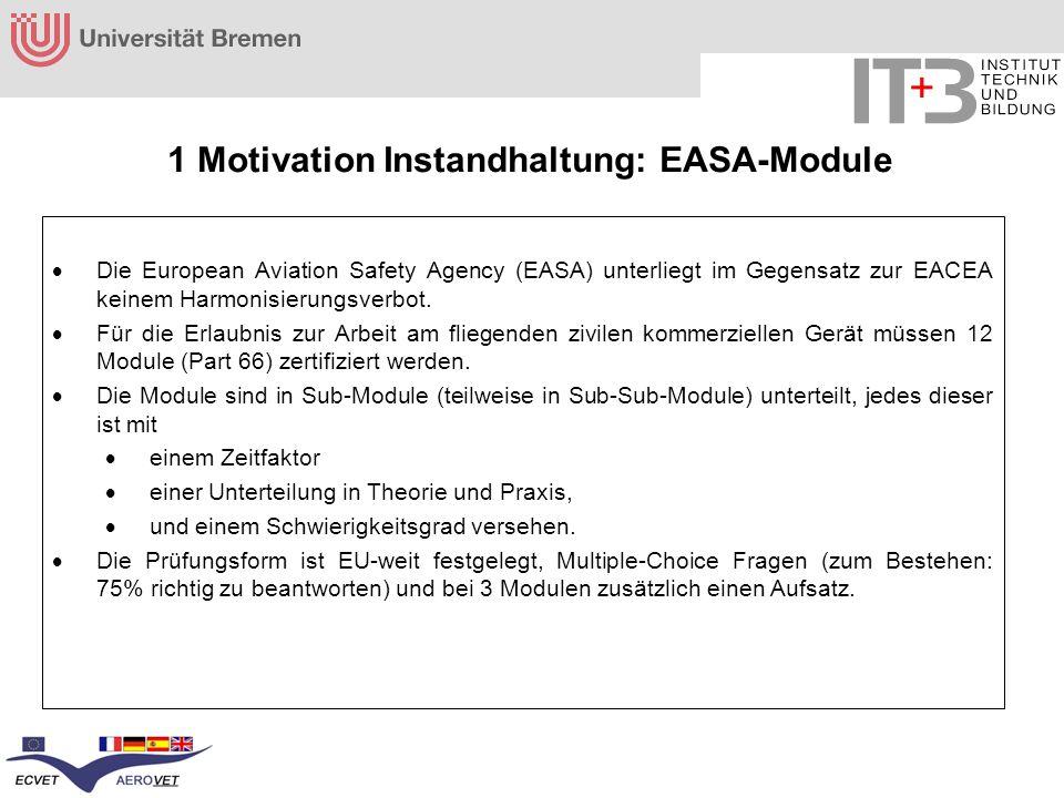 1 Motivation Instandhaltung: EASA-Module Die European Aviation Safety Agency (EASA) unterliegt im Gegensatz zur EACEA keinem Harmonisierungsverbot. Fü