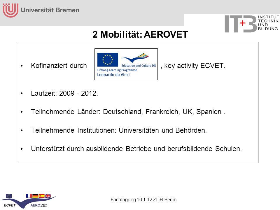 Fachtagung 16.1.12 ZDH Berlin Kofinanziert durch, key activity ECVET. Laufzeit: 2009 - 2012. Teilnehmende Länder: Deutschland, Frankreich, UK, Spanien