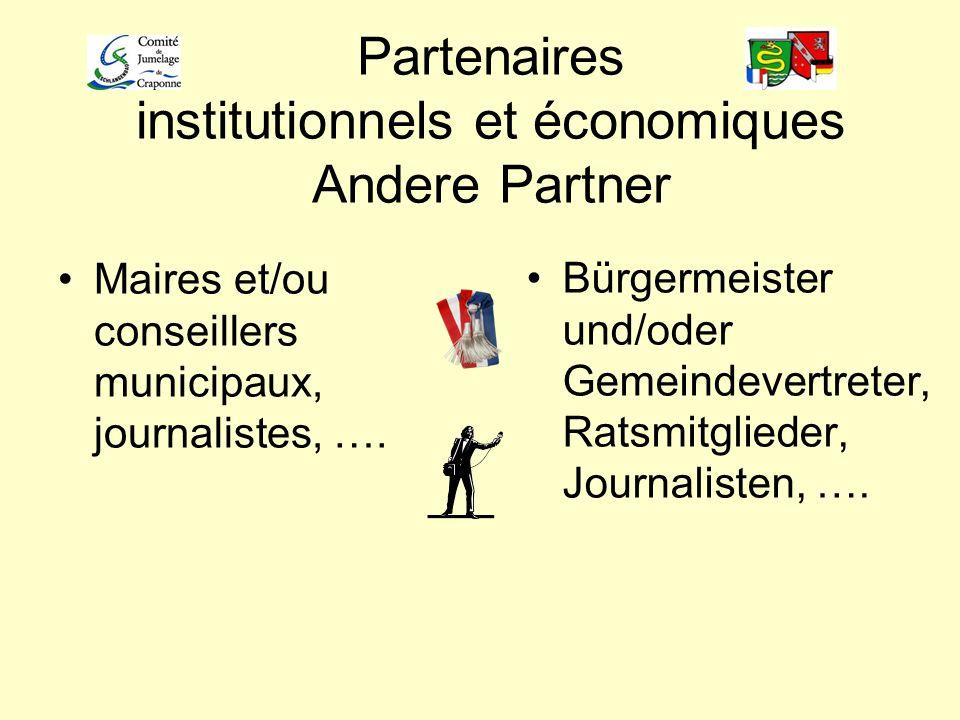 Partenaires institutionnels et économiques Andere Partner Maires et/ou conseillers municipaux, journalistes, …. Bürgermeister und/oder Gemeindevertret