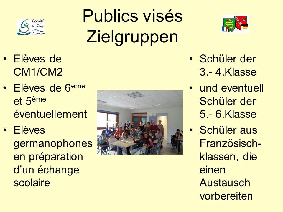 Publics visés Zielgruppen Elèves de CM1/CM2 Elèves de 6 ème et 5 ème éventuellement Elèves germanophones en préparation dun échange scolaire Schüler d