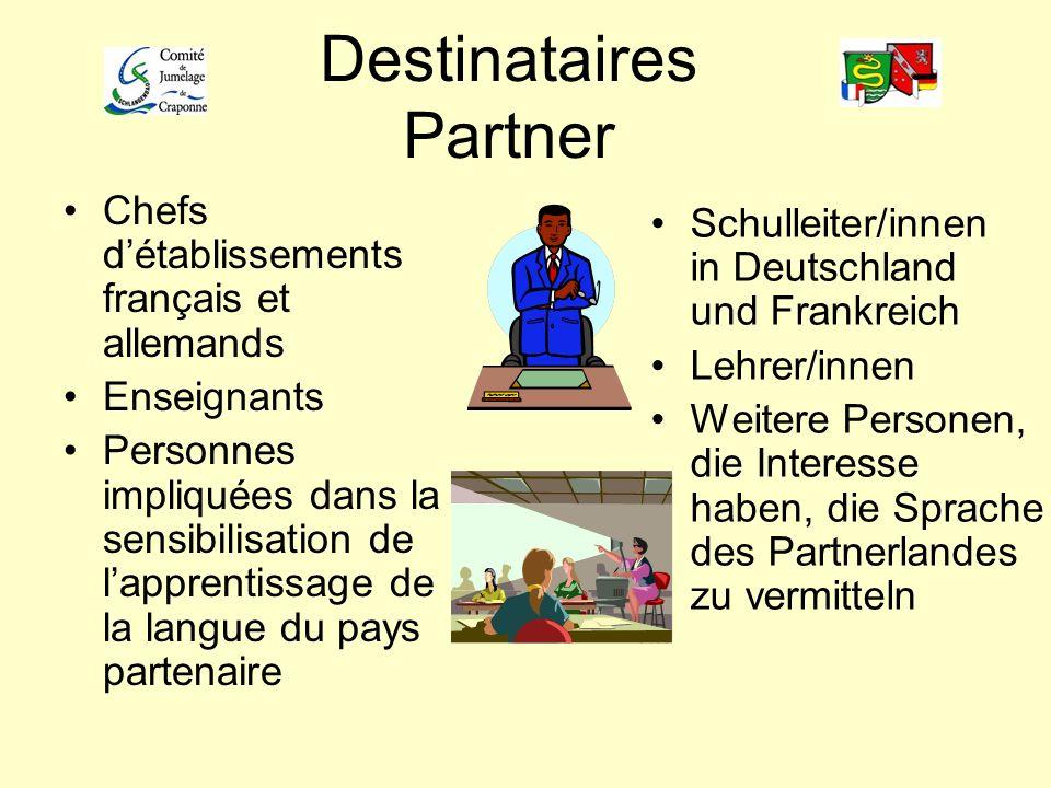Destinataires Partner Chefs détablissements français et allemands Enseignants Personnes impliquées dans la sensibilisation de lapprentissage de la lan