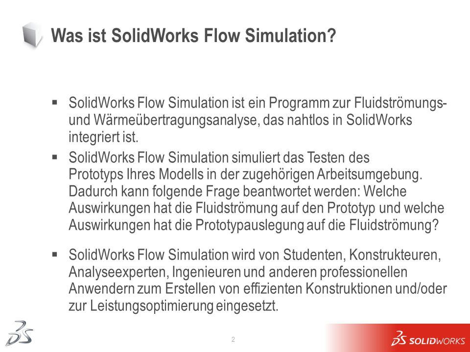 2 Was ist SolidWorks Flow Simulation? SolidWorks Flow Simulation ist ein Programm zur Fluidströmungs- und Wärmeübertragungsanalyse, das nahtlos in Sol