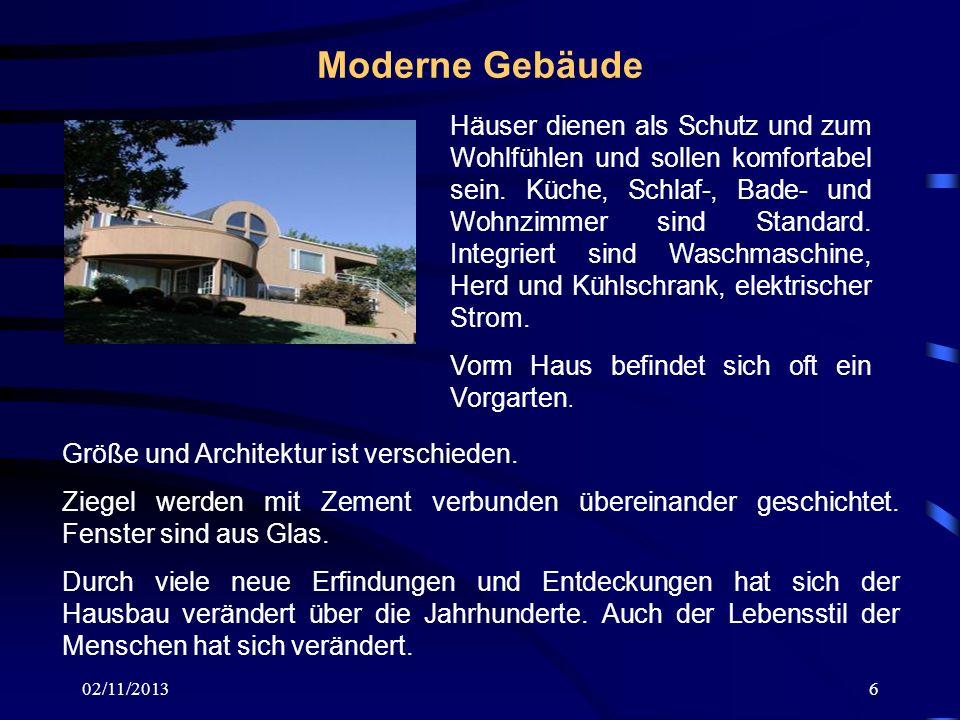 02/11/20136 Moderne Gebäude Häuser dienen als Schutz und zum Wohlfühlen und sollen komfortabel sein. Küche, Schlaf-, Bade- und Wohnzimmer sind Standar