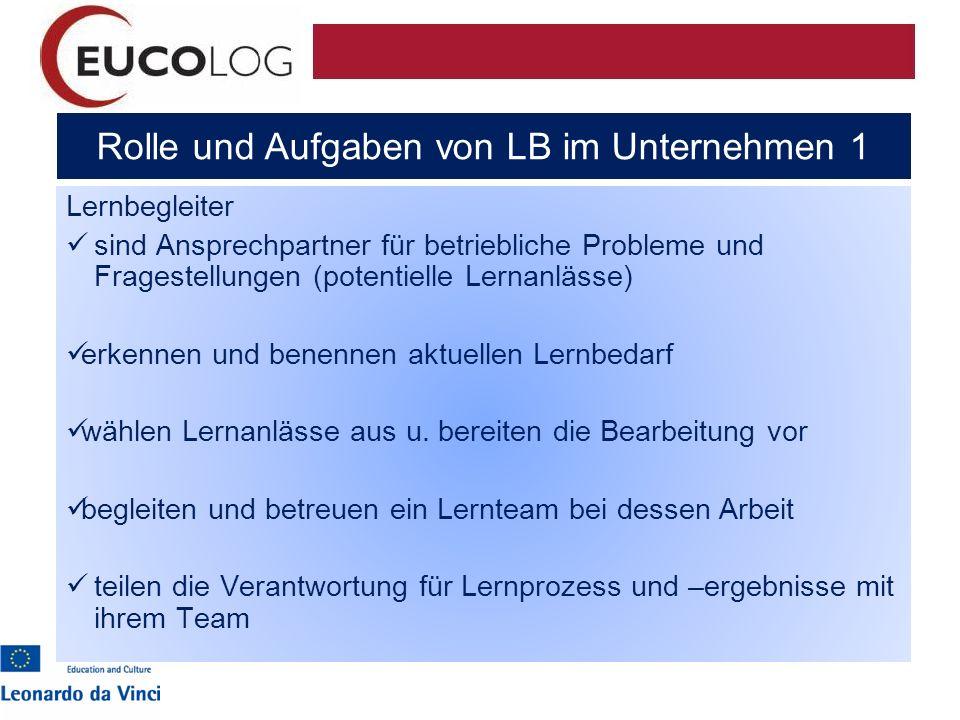 Rolle und Aufgaben von LB im Unternehmen 1 Lernbegleiter sind Ansprechpartner für betriebliche Probleme und Fragestellungen (potentielle Lernanlässe)