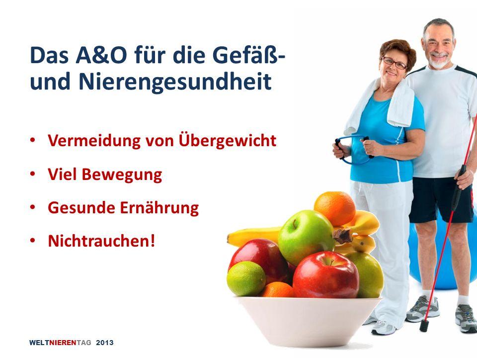 WELTNIERENTAG 2013 Vermeidung von Übergewicht Viel Bewegung Gesunde Ernährung Nichtrauchen! Das A&O für die Gefäß- und Nierengesundheit