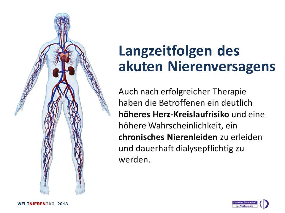 WELTNIERENTAG 2013 Langzeitfolgen des akuten Nierenversagens Auch nach erfolgreicher Therapie haben die Betroffenen ein deutlich höheres Herz-Kreislau
