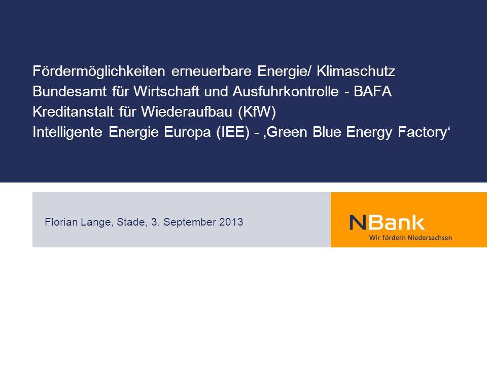 Fördermöglichkeiten erneuerbare Energie/ Klimaschutz Bundesamt für Wirtschaft und Ausfuhrkontrolle - BAFA Kreditanstalt für Wiederaufbau (KfW) Intelli