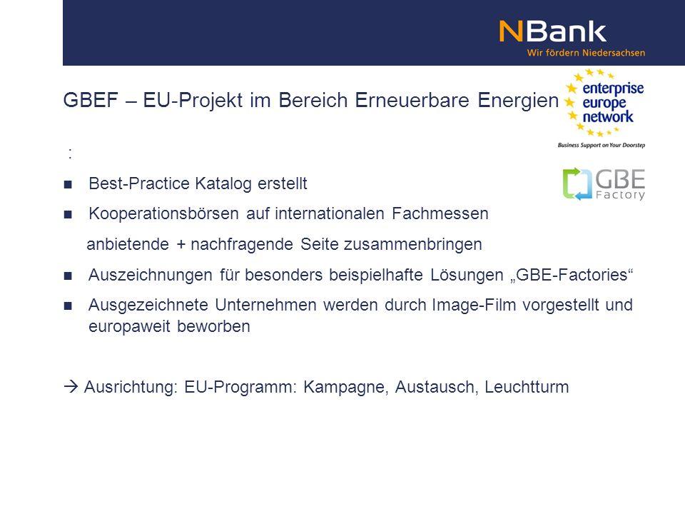 GBEF – EU-Projekt im Bereich Erneuerbare Energien : Best-Practice Katalog erstellt Kooperationsbörsen auf internationalen Fachmessen anbietende + nach