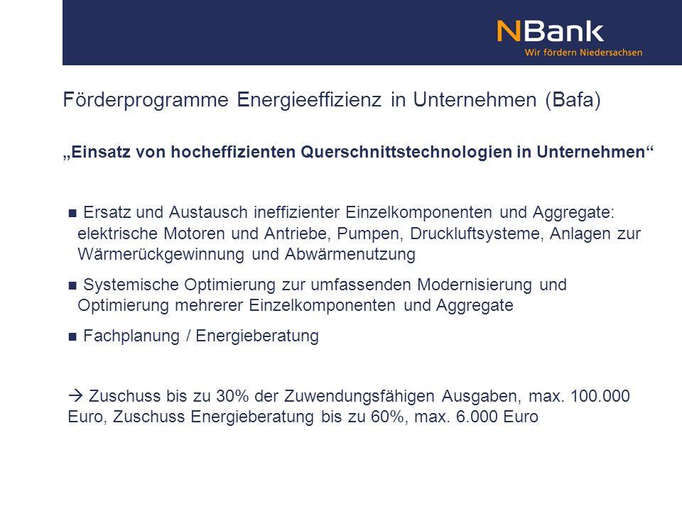 Förderprogramme Energieeffizienz in Unternehmen (Bafa) Einsatz von hocheffizienten Querschnittstechnologien in Unternehmen Ersatz und Austausch ineffi