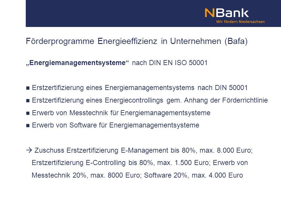 Förderprogramme Energieeffizienz in Unternehmen (Bafa) Energiemanagementsysteme nach DIN EN ISO 50001 Erstzertifizierung eines Energiemanagementsystem