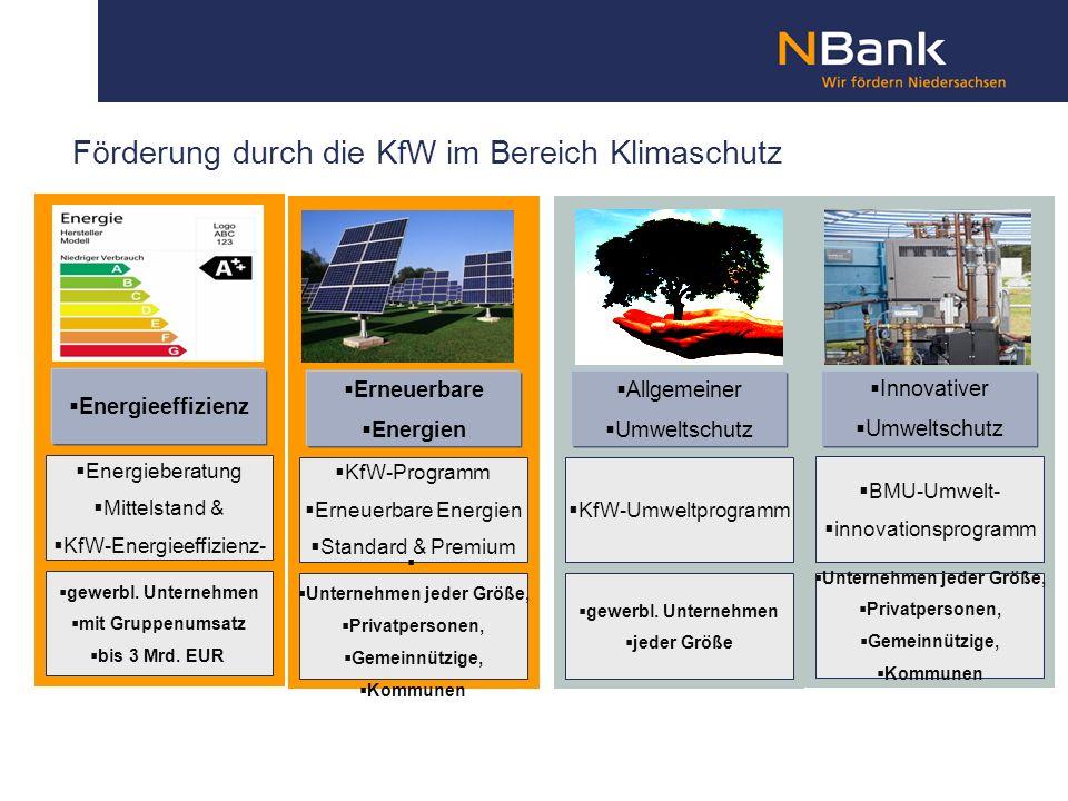 Förderung durch die KfW im Bereich Klimaschutz Energieberatung Mittelstand & KfW-Energieeffizienz- programm gewerbl. Unternehmen mit Gruppenumsatz bis