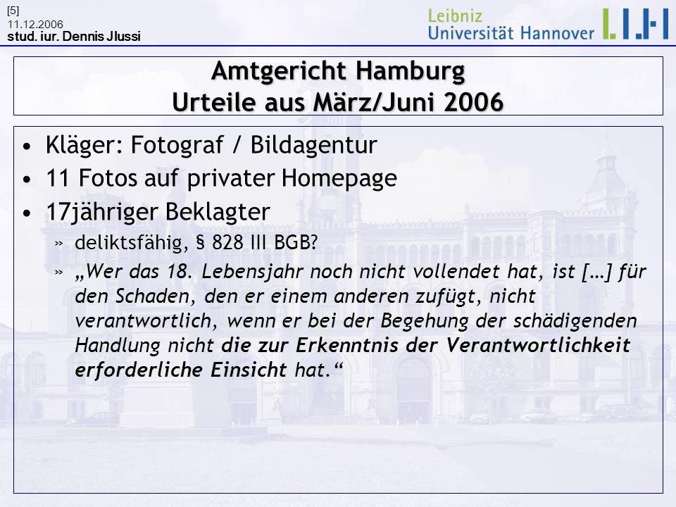 11.12.2006 stud. iur. Dennis Jlussi [5] Amtgericht Hamburg Urteile aus März/Juni 2006 Kläger: Fotograf / Bildagentur 11 Fotos auf privater Homepage 17