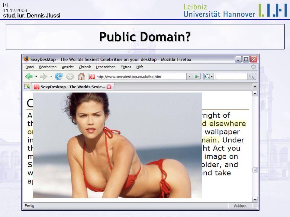 11.12.2006 stud. iur. Dennis Jlussi [7] Public Domain?