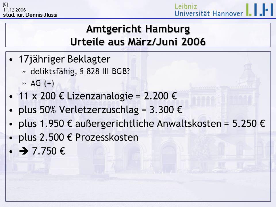 11.12.2006 stud. iur. Dennis Jlussi [8] Amtgericht Hamburg Urteile aus März/Juni 2006 17jähriger Beklagter »deliktsfähig, § 828 III BGB? »AG (+) 11 x