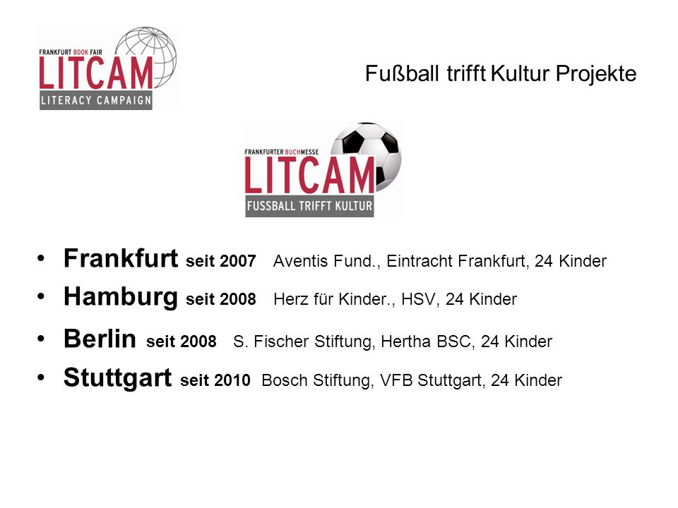 Fußball trifft Kultur Projekte Frankfurt seit 2007 Aventis Fund., Eintracht Frankfurt, 24 Kinder Hamburg seit 2008 Herz für Kinder., HSV, 24 Kinder Be