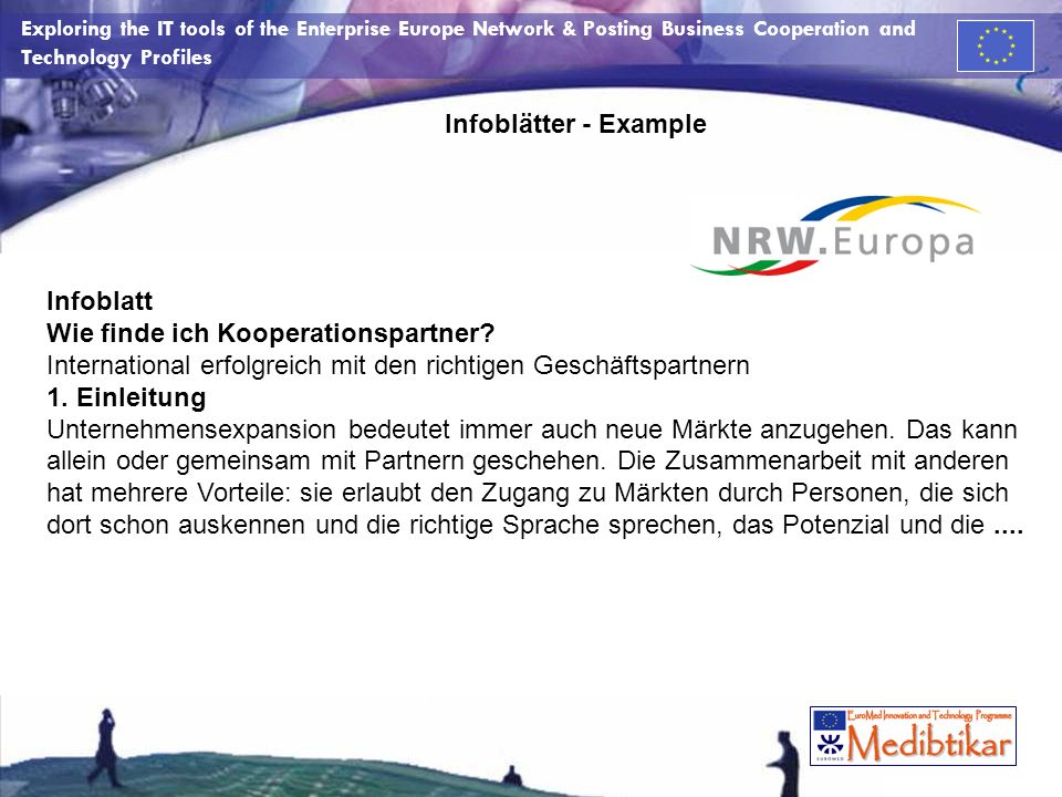 Exploring the IT tools of the Enterprise Europe Network & Posting Business Cooperation and Technology Profiles Infoblätter - Example Infoblatt Wie fin