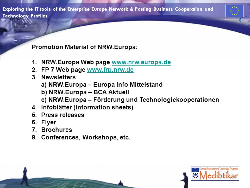 Exploring the IT tools of the Enterprise Europe Network & Posting Business Cooperation and Technology Profiles Flyer