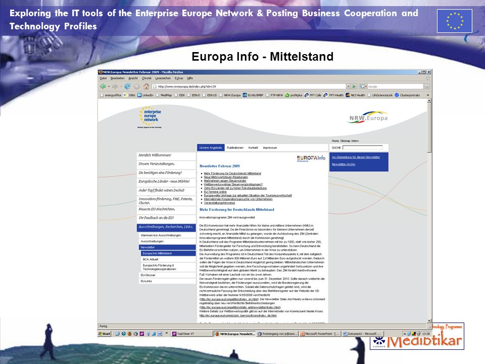 Exploring the IT tools of the Enterprise Europe Network & Posting Business Cooperation and Technology Profiles Europa Info - Mittelstand