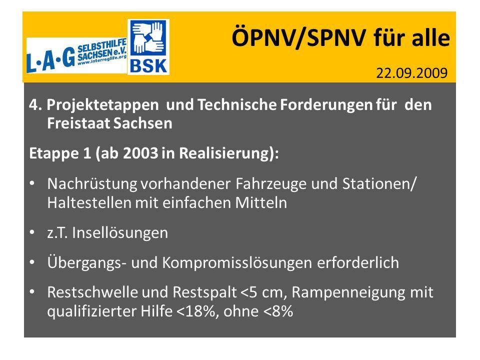 ÖPNV/SPNV für alle 22.09.2009 SBV SMS 27.07.2009 AGSV SN + BW 05.05.2009 4. Projektetappen und Technische Forderungen für den Freistaat Sachsen Etappe
