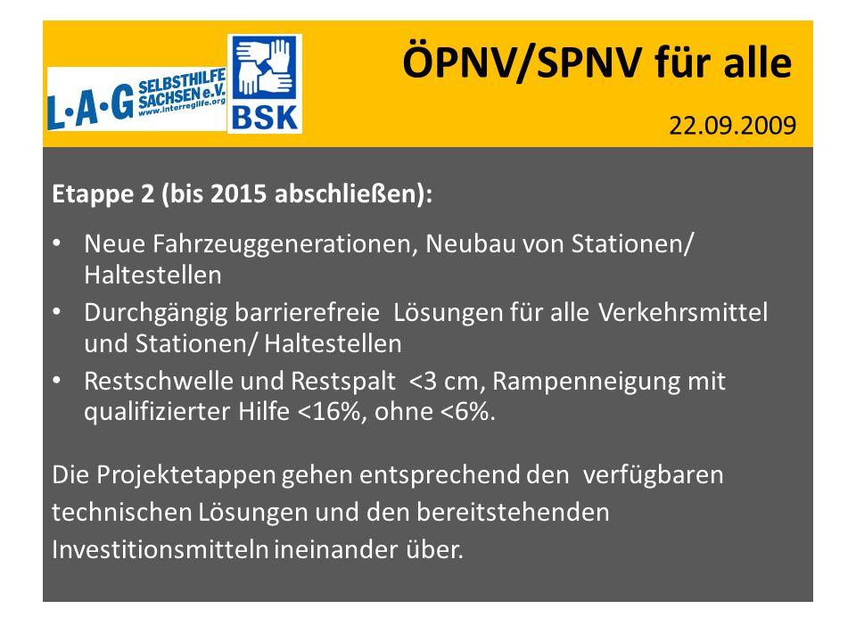 ÖPNV/SPNV für alle 22.09.2009 Etappe 2 (bis 2015 abschließen): Neue Fahrzeuggenerationen, Neubau von Stationen/ Haltestellen Durchgängig barrierefreie