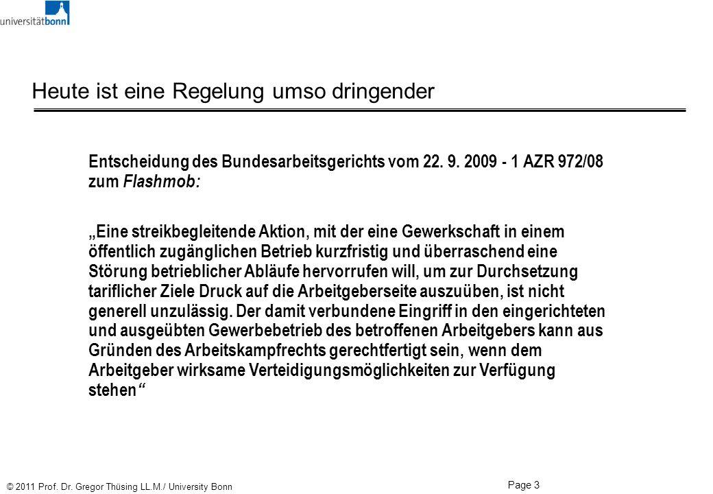 Page 3 © 2011 Prof. Dr. Gregor Thüsing LL.M./ University Bonn Heute ist eine Regelung umso dringender Entscheidung des Bundesarbeitsgerichts vom 22. 9
