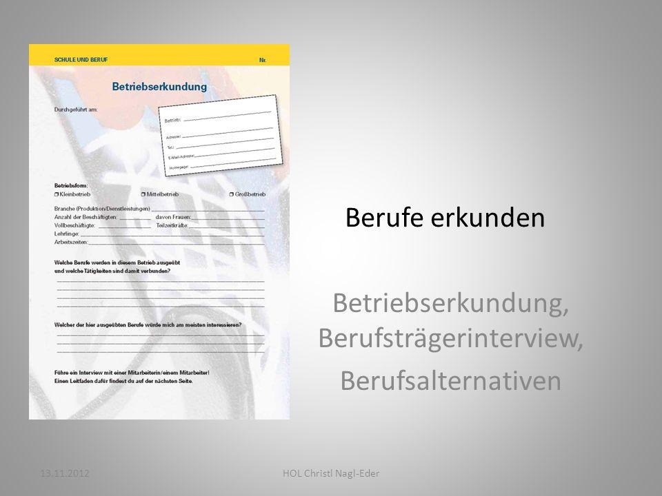 Berufe erkunden Betriebserkundung, Berufsträgerinterview, Berufsalternativen 13.11.2012HOL Christl Nagl-Eder