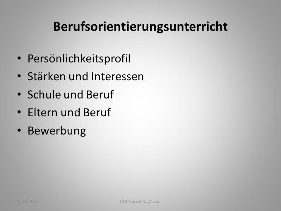 Selbsteinschätzung Fremdeinschätzung Stärken, Interessen, Begabungen 13.11.2012HOL Christl Nagl-Eder
