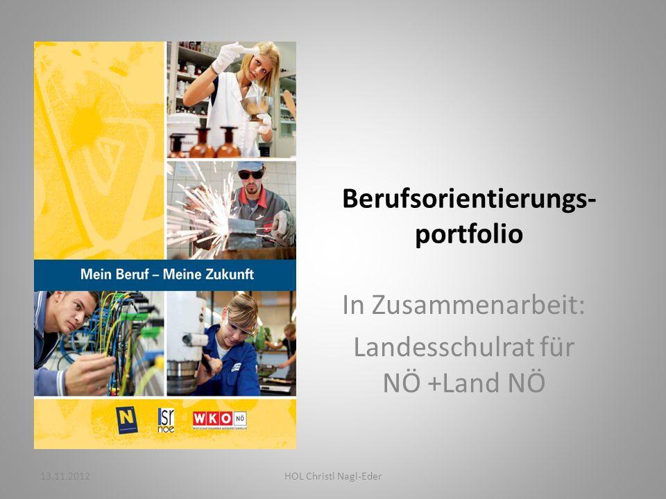 Berufsorientierungs- portfolio In Zusammenarbeit: Landesschulrat für NÖ +Land NÖ 13.11.2012HOL Christl Nagl-Eder