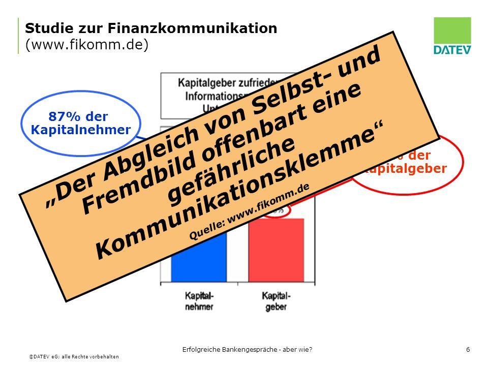 ©DATEV eG; alle Rechte vorbehalten Erfolgreiche Bankengespräche - aber wie?7 Studie zur Finanzkommunikation Selbst- und Fremdbild differieren stark!