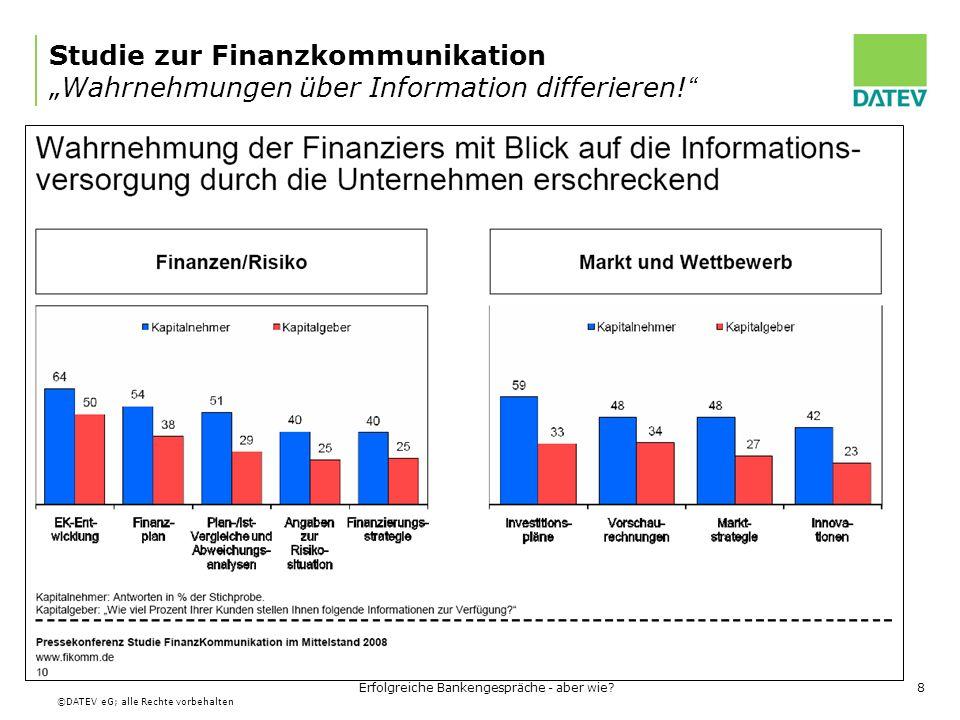 ©DATEV eG; alle Rechte vorbehalten Erfolgreiche Bankengespräche - aber wie?9 Studie zur Finanzkommunikation Handlungsempfehlungen (www.fikomm.de) Jeder Unternehmer ist sein eigener Bonitätslenker.