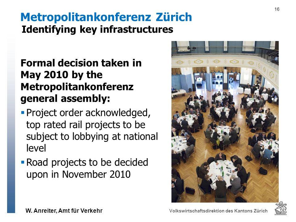 W. Anreiter, Amt für Verkehr Volkswirtschaftsdirektion des Kantons Zürich 16 Metropolitankonferenz Zürich Formal decision taken in May 2010 by the Met
