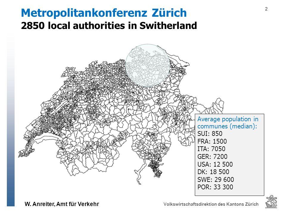 W. Anreiter, Amt für Verkehr Volkswirtschaftsdirektion des Kantons Zürich 2850 local authorities in Switherland Metropolitankonferenz Zürich 2 Average