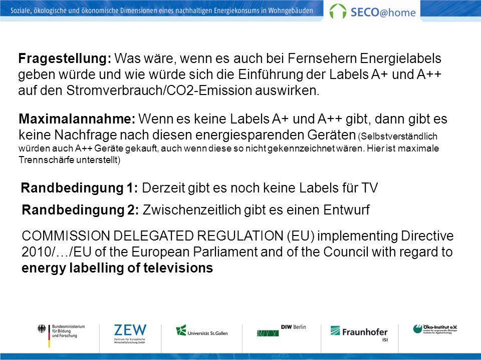 Szenariodefinition Zwei Szenarien: Basis und Neue Verbrauchslabels Labels für TV werden 2010 eingeführt Neue Labels (A+ und A++) werden ab 2015 eingeführt Betrachtungszeitraum 2010 bis 2030 Demografische Änderungen entsprechend DeStatis 4 Größenklassen für neue TV Leichter Mehrverbrauch durch Verhaltensänderung, Längerer Fernsehkonsum Größere Geräte keine Änderung des Käuferverhaltens bezüglich Bildschirmgröße nach Einführung der neuen Labels Labeldefinition berücksichtigt Größe des Geräts