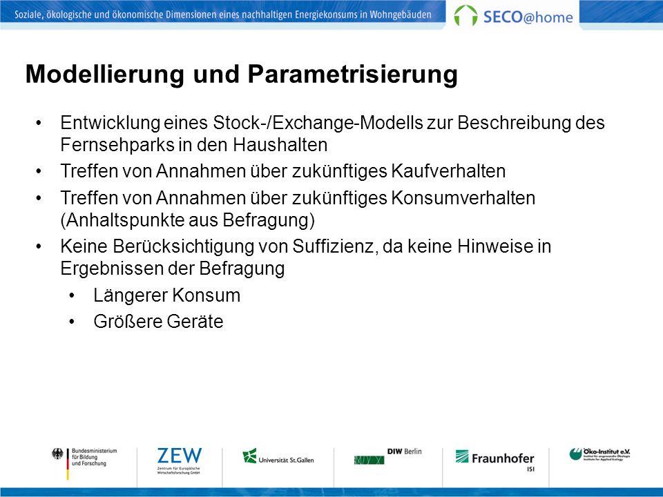 Modellierung und Parametrisierung Entwicklung eines Stock-/Exchange-Modells zur Beschreibung des Fernsehparks in den Haushalten Treffen von Annahmen ü