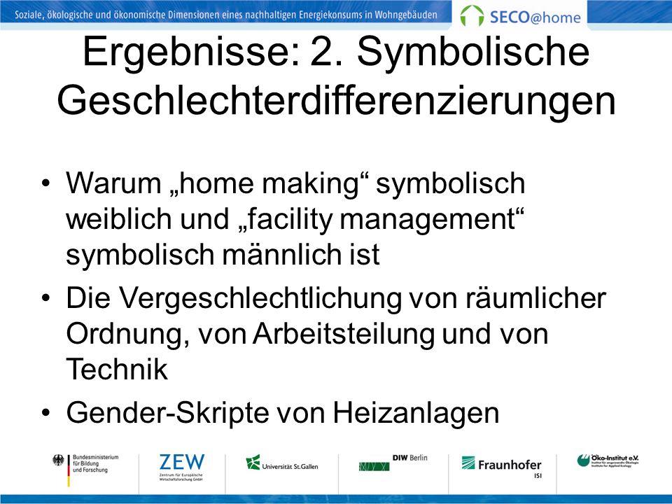 Ergebnisse: 2. Symbolische Geschlechterdifferenzierungen Warum home making symbolisch weiblich und facility management symbolisch männlich ist Die Ver