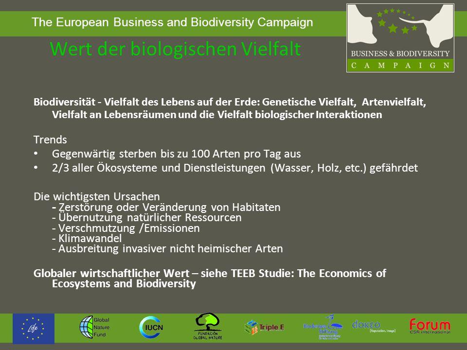 The European Business and Biodiversity Campaign Artensterben Vom Menschen verursachter Artenschwund ist etwa 1000-mal höher als die natürliche Aussterberate Quelle: Helmholtz-Zentrum für Umweltforschung www.ufz.de