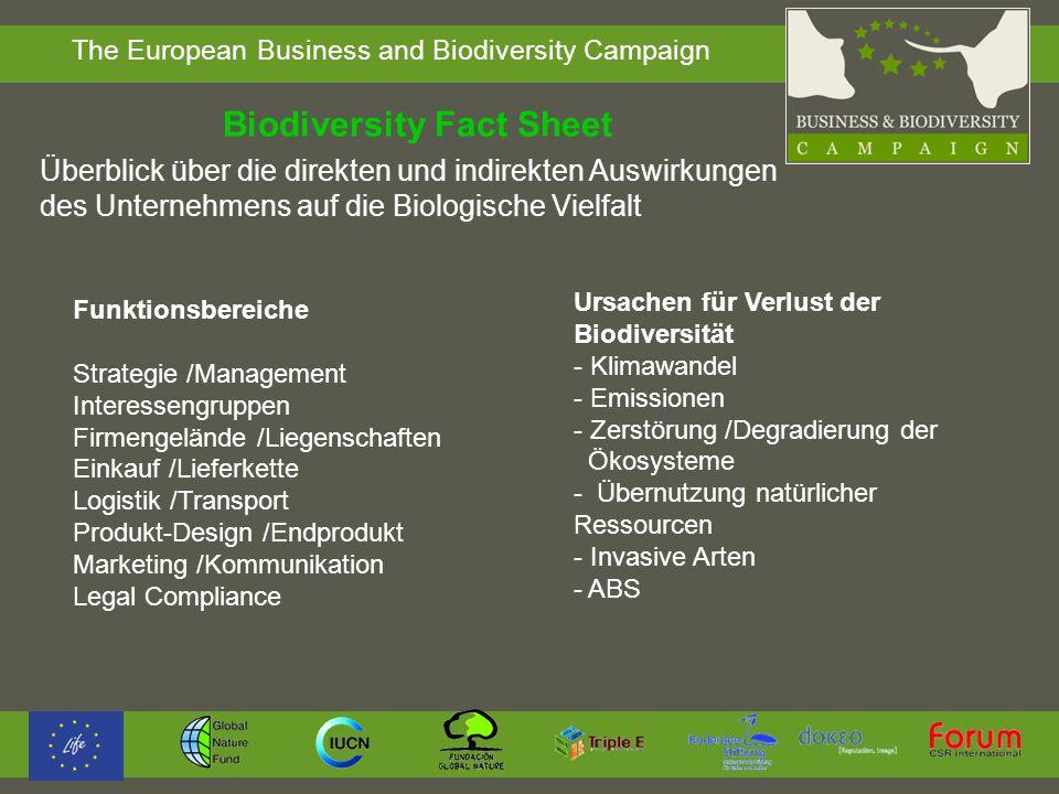 The European Business and Biodiversity Campaign Biodiversity Fact Sheet Funktionsbereiche Strategie /Management Interessengruppen Firmengelände /Liege