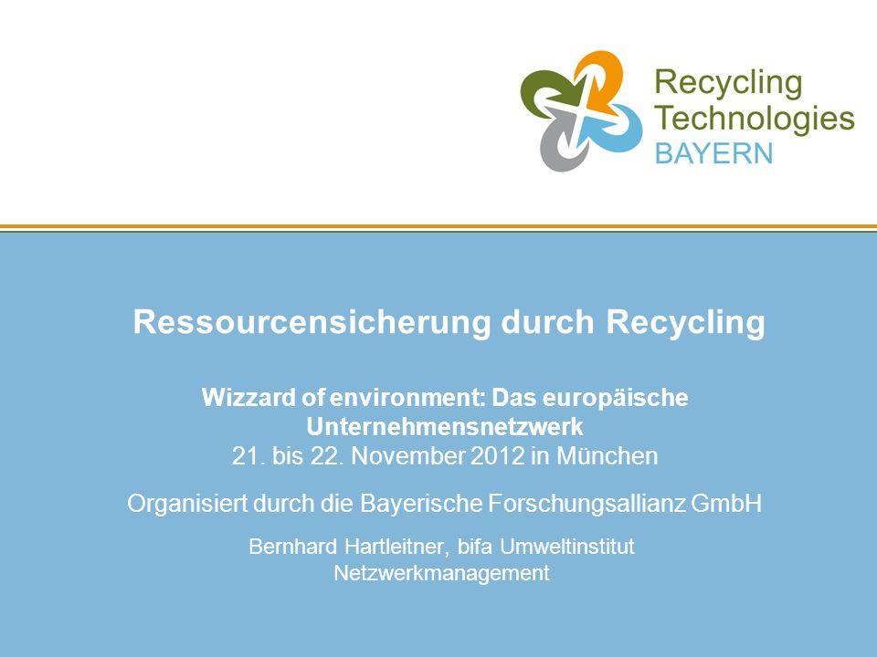 Ressourcensicherung durch Recycling Wizzard of environment: Das europäische Unternehmensnetzwerk 21. bis 22. November 2012 in München Organisiert durc