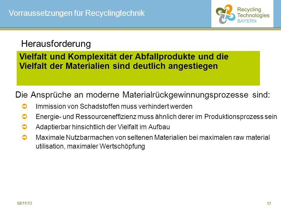 17 02/11/13 Die Ansprüche an moderne Materialrückgewinnungsprozesse sind: Immission von Schadstoffen muss verhindert werden Energie- und Ressourceneff