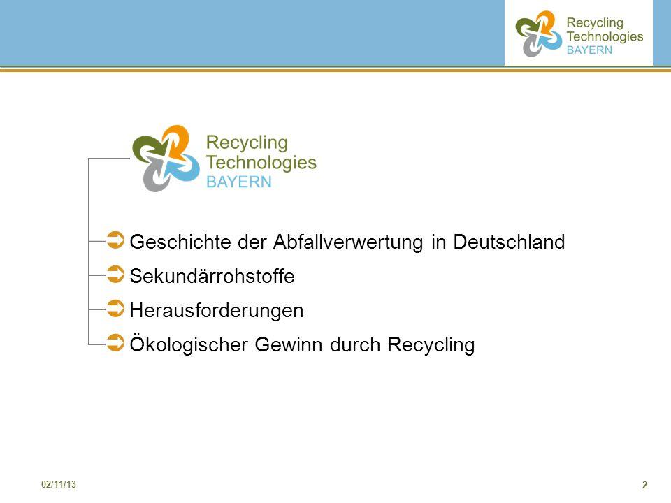 2 02/11/13 Geschichte der Abfallverwertung in Deutschland Sekundärrohstoffe Herausforderungen Ökologischer Gewinn durch Recycling