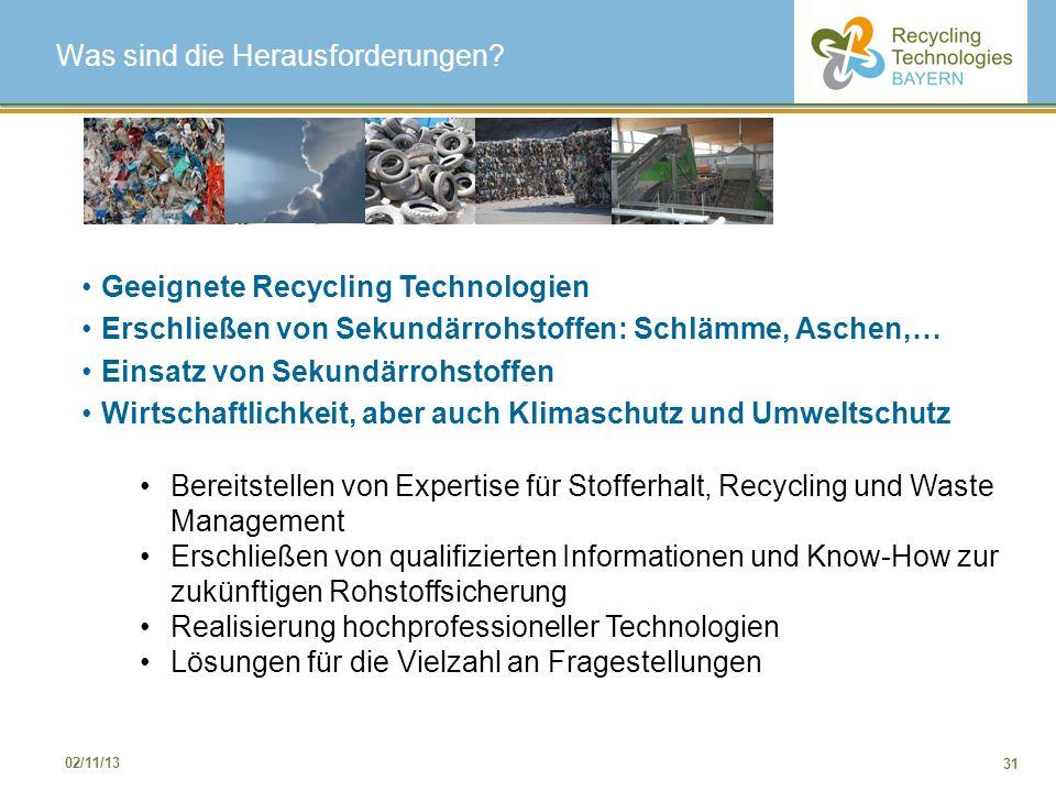 31 02/11/13 Geeignete Recycling Technologien Erschließen von Sekundärrohstoffen: Schlämme, Aschen,… Einsatz von Sekundärrohstoffen Wirtschaftlichkeit,