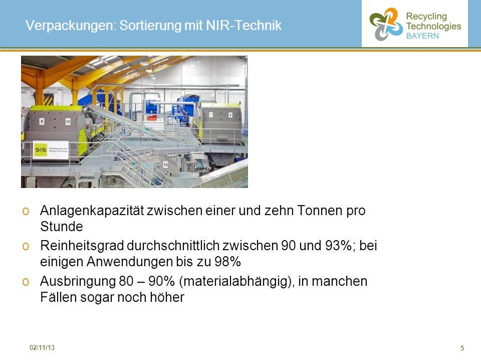 5 02/11/13 Verpackungen: Sortierung mit NIR-Technik oAnlagenkapazität zwischen einer und zehn Tonnen pro Stunde oReinheitsgrad durchschnittlich zwisch