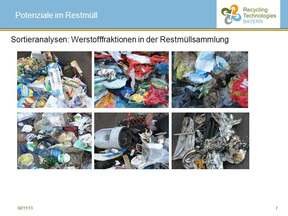 7 02/11/13 Potenziale im Restmüll Sortieranalysen: Werstofffraktionen in der Restmüllsammlung