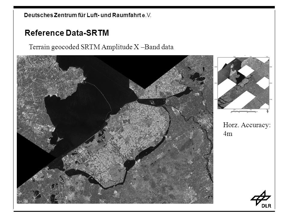 Deutsches Zentrum für Luft- und Raumfahrt e.V. Reference Data-SRTM Terrain geocoded SRTM Amplitude X –Band data Horz. Accuracy: 4m